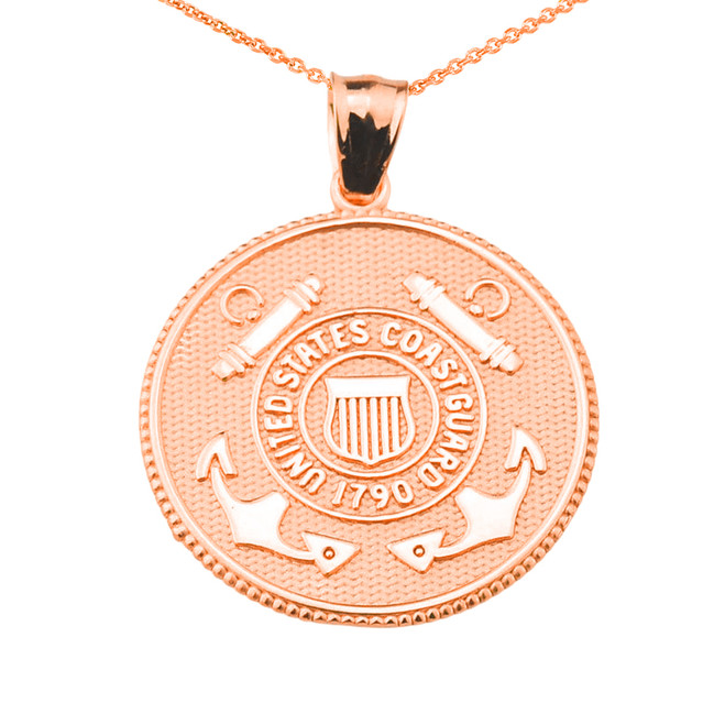 US Coast Guard Solid Rose Gold Coin Pendant Necklace