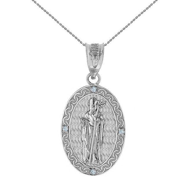 "Solid White Gold Saint Patrick Diamond Oval Medallion Pendant Necklace 1.03"" ( 26 mm)"