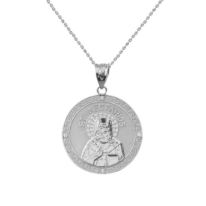 "Solid White Gold Greek Orthodox Saint Nectarios of Aegina Engravable Diamond Medallion Pendant Necklace  1.01"" (25 mm)"