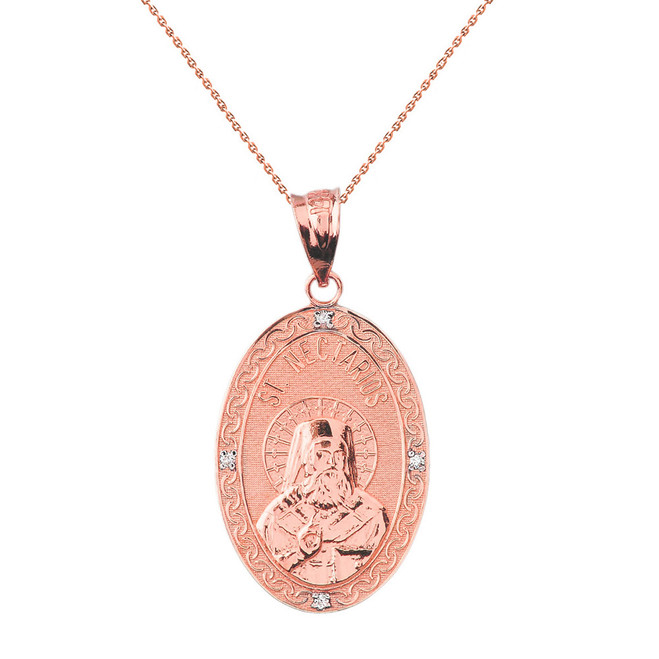 "Solid Rose Gold Greek Orthodox Saint Nectarios of Aegina Engravable Diamond Medallion Oval Pendant Necklace  1.00"" (25 mm)"