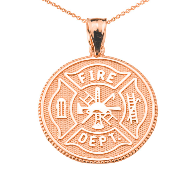 Solid Rose Gold US Firefighter Maltese Cross Pendant Necklace