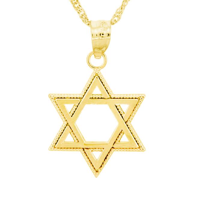 Yellow Gold Milgrain Jewish Star of David Pendant Necklace