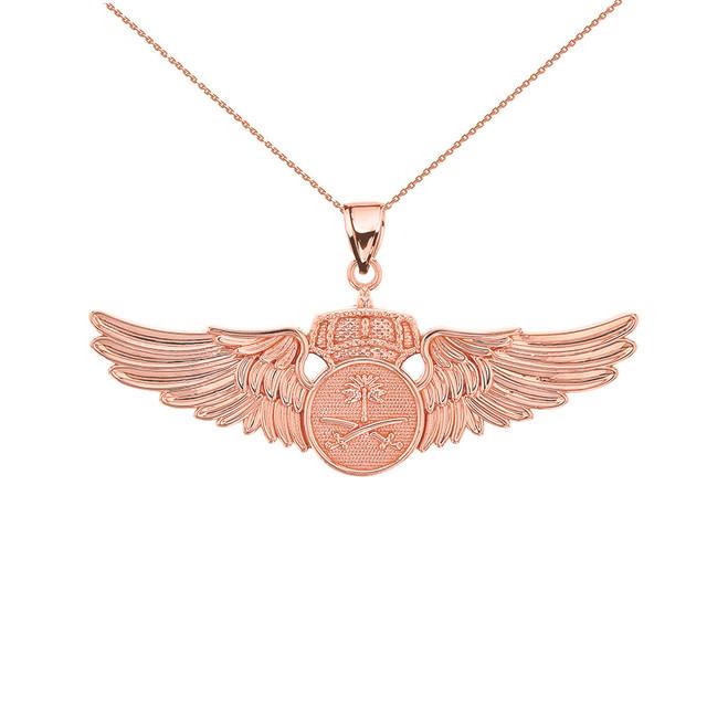 Rose Gold Saudi Arabian Air Force Wings Pendant Necklace