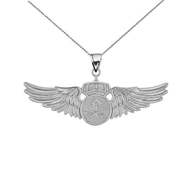 Sterling Silver Saudi Arabian Air Force Wings Pendant Necklace