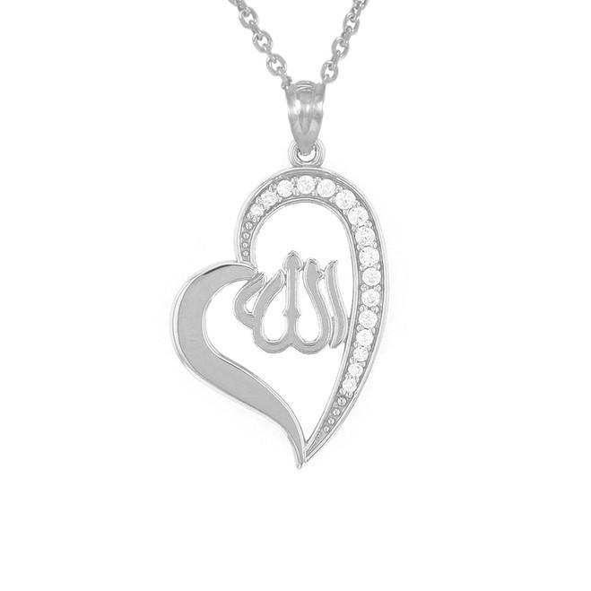 White Gold Cubic Zirconia Allah Heart Pendant Necklace
