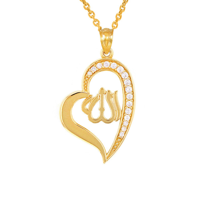 Yellow Gold Cubic Zirconia Allah Heart Pendant Necklace