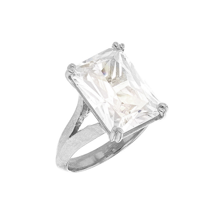 White Gold Solitaire Octagon Radiant Emerald Cut Cubic Zirconia  Engagement Ring
