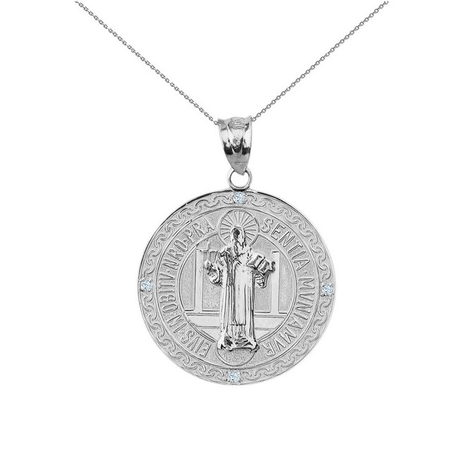 "Solid White Gold Saint Benito Engravable Diamond Medallion Pendant Necklace  1.03"" ( 26 mm)"