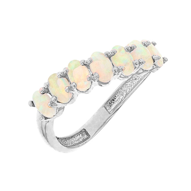 White Gold Wavy Stackable Opal Ring