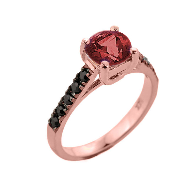 Rose Gold Garnet with Black Diamonds Solitaire Engagement Ring