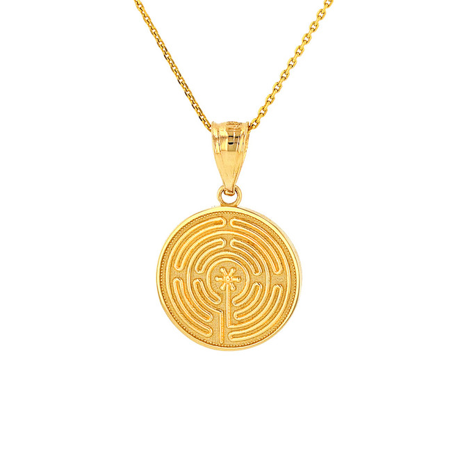 Solid Yellow Gold Chartres Labyrinth Dainty Disc Medallion Pendant Necklace