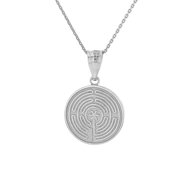 Solid White Gold Chartres Labyrinth Dainty Disc Medallion Pendant Necklace