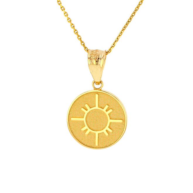 Solid Yellow Gold Native American Geometric Sun Symbol Dainty Disc Medallion Pendant Necklace