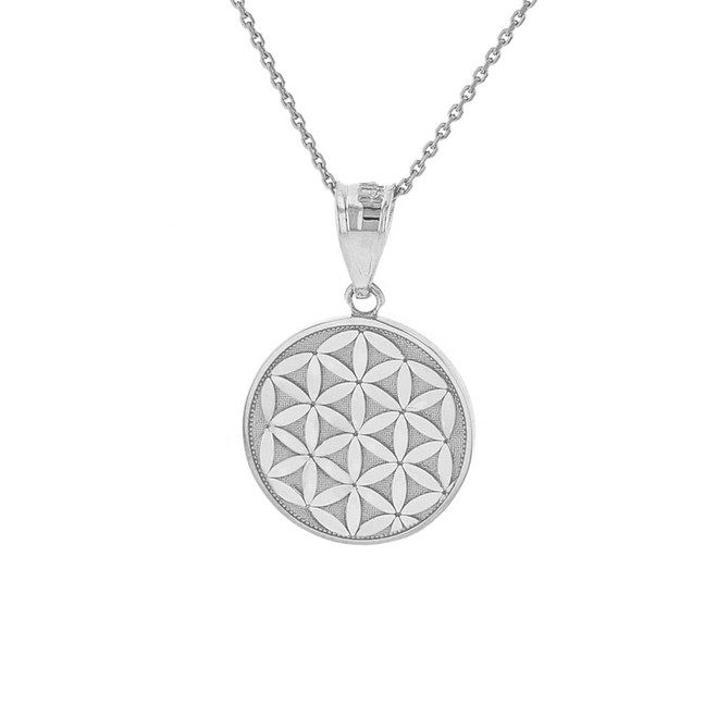 Solid White Gold Flower of Life Dainty Disc Medallion Pendant Necklace