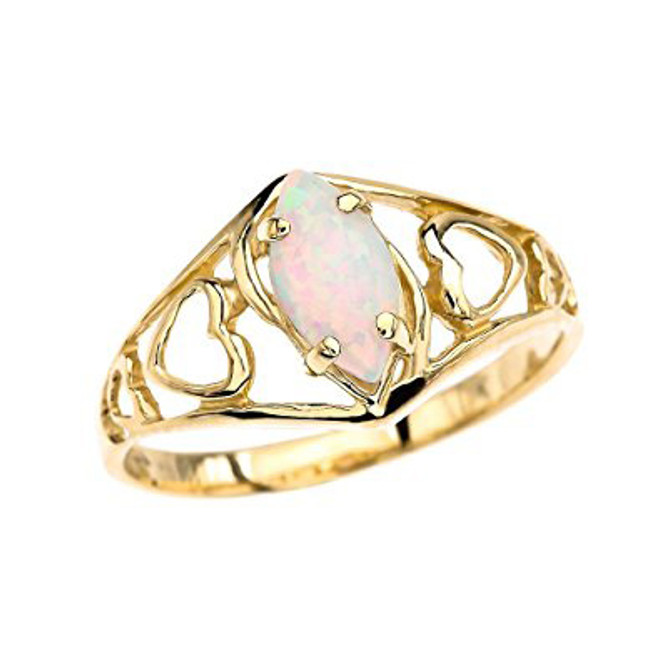 Yellow Gold Heart Ring With Marquise Opal Centerstone