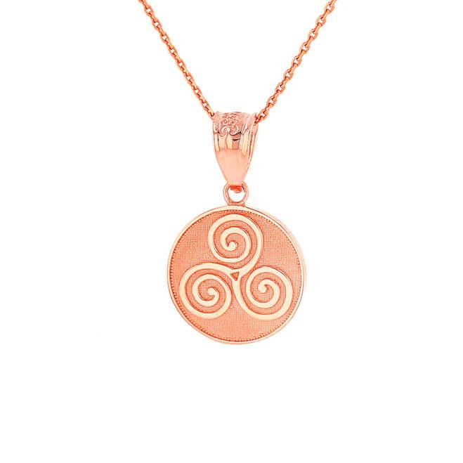 Solid Rose Gold Celtic Triple Spiral Triskele Irish Knot Disc Medallion Pendant Necklace