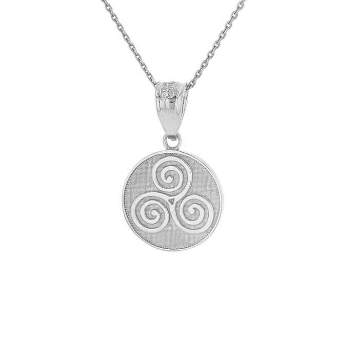 Sterling Silver Celtic Triple Spiral Triskele Irish Knot Disc Medallion Pendant Necklace