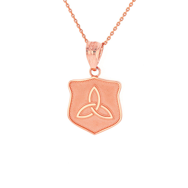 Solid Rose Gold Trinity Shield Triquetra Celtic Knot  Pendant Necklace
