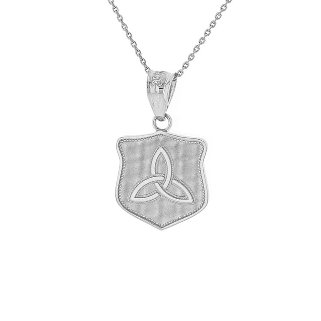 Sterling Silver Trinity Shield Triquetra Celtic Knot Pendant Necklace