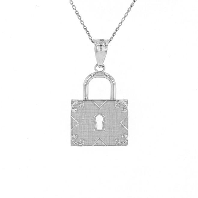 Solid White Gold Swirl Rectangle Keyhole Padlock Pendant Necklace