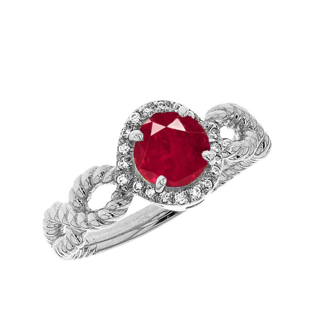 White Gold Infinity Rope Diamond and (LCR) Ruby Engagement Ring