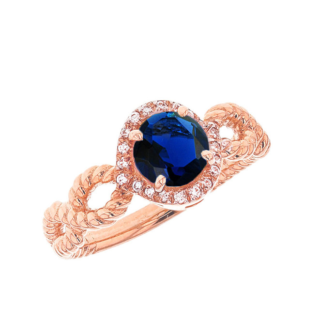 Rose Gold Infinity Rope Diamond and (LCS) Sapphire Engagement Ring