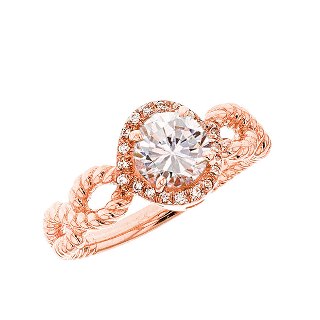 Rose Gold Infinity Rope Diamond Genuine White Topaz Engagement Ring