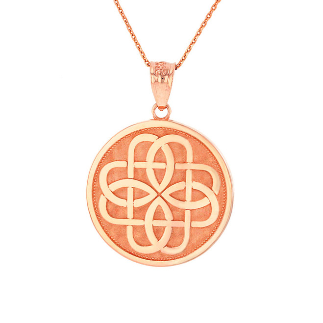 Solid Rose Gold Celtic Knot Flower Medallion Pendant Necklace