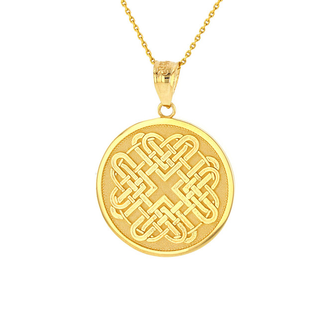 Solid Yellow Gold Celtic Quaternary Heart Knot Medallion Pendant Necklace
