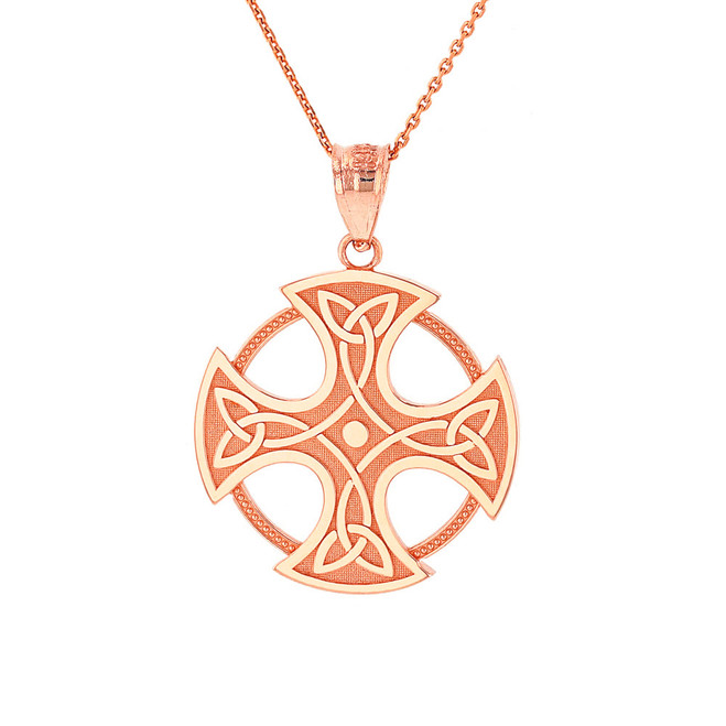 Solid Rose Gold Trinity Knot Celtic Cross Pendant Necklace
