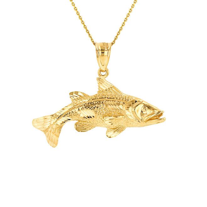 Solid Yellow Gold Diamond Cut Largemouth Bass Fish Pendant Necklace