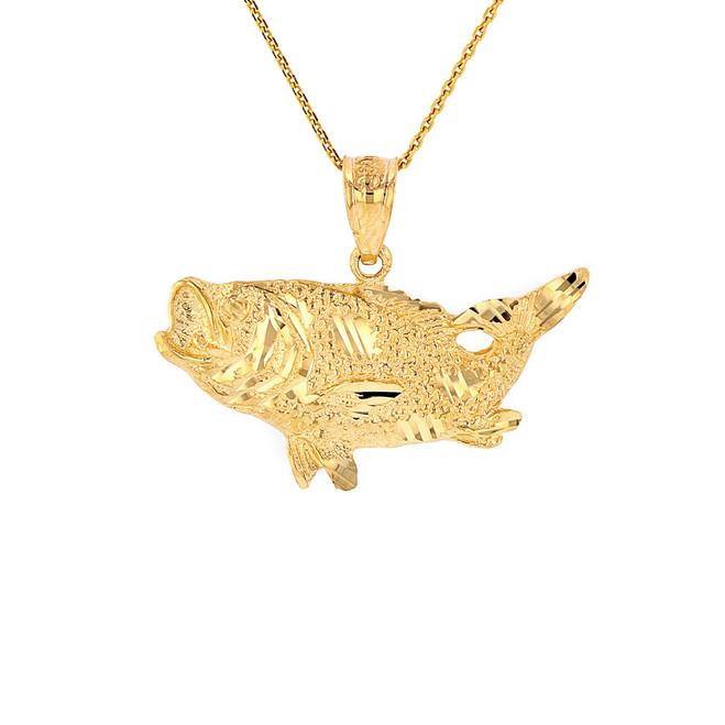 Solid Yellow Gold Diamond Cut  Big Game Fishing Bass Fish Pendant Necklace