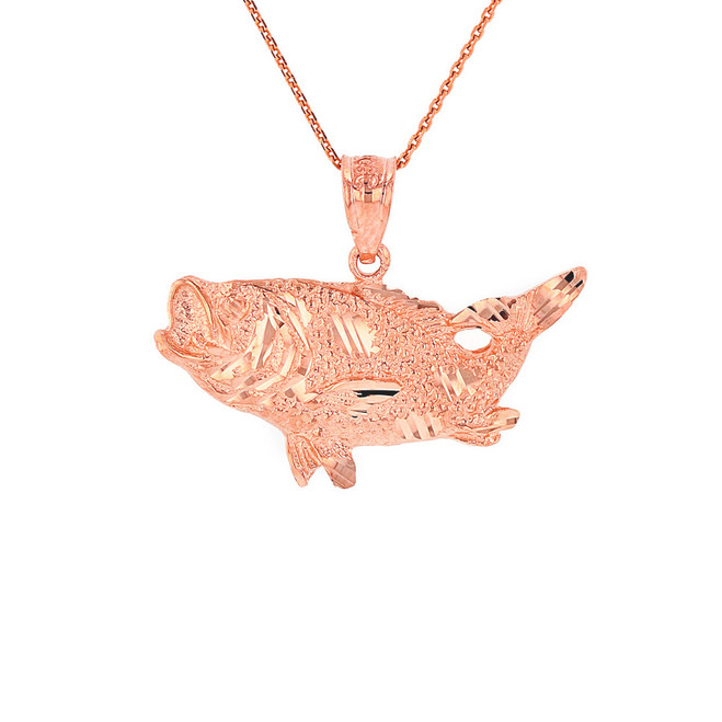 Solid Rose Gold Diamond Cut  Big Game Fishing Bass Fish Pendant Necklace