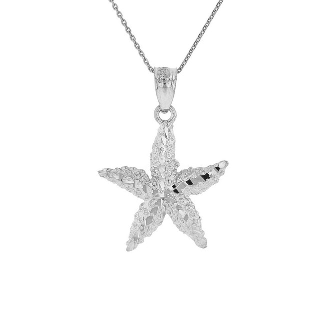 Sterling Silver Diamond Cut Starfish Sea Star Pendant Necklace