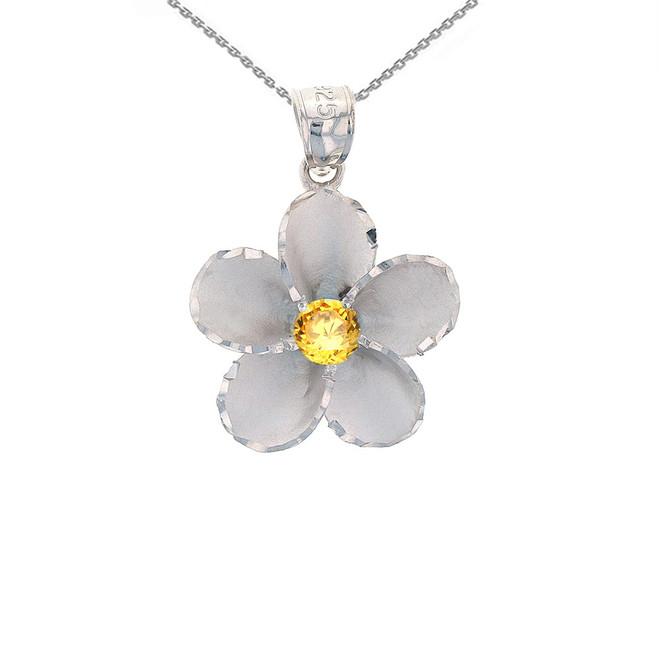 Sterling Silver Hawaiian Plumeria Yellow CZ Pendant Necklace