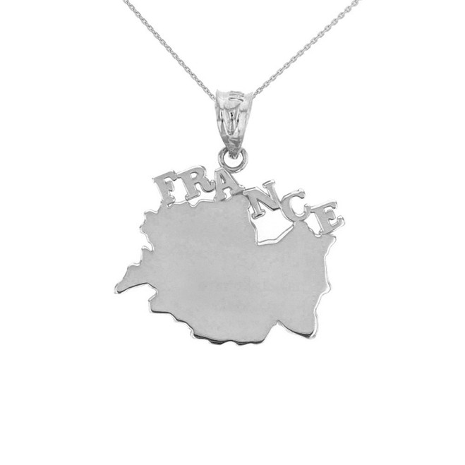 Solid White Gold France Pendant Necklace