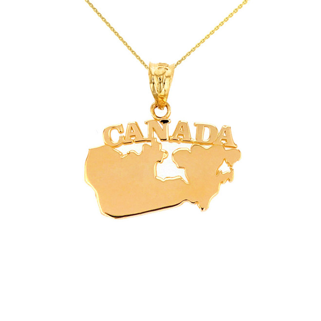 Solid Yellow Gold Canada Pendant Necklace