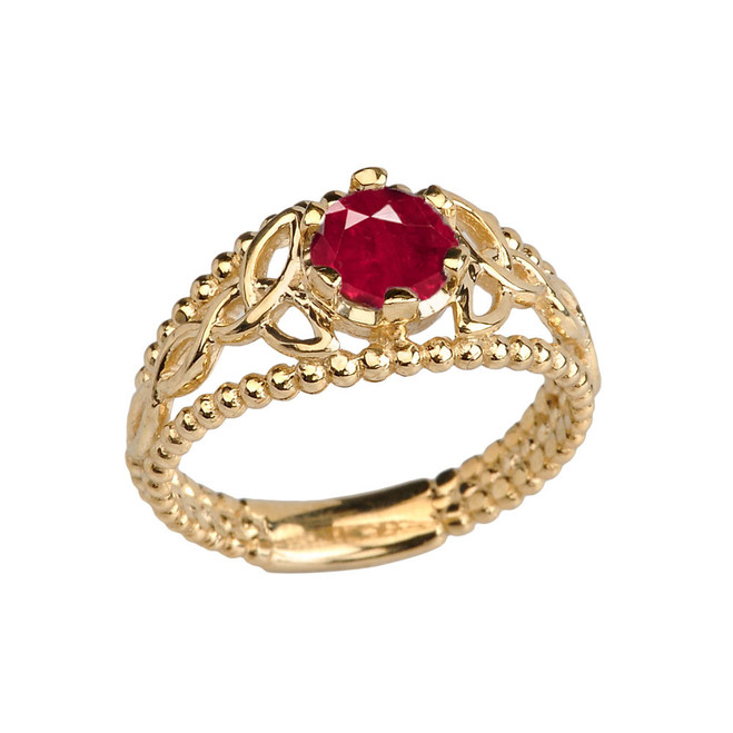 Yellow Gold Lab Created Ruby Beaded Celtic Trinity Knot Engagement/Promise Ring