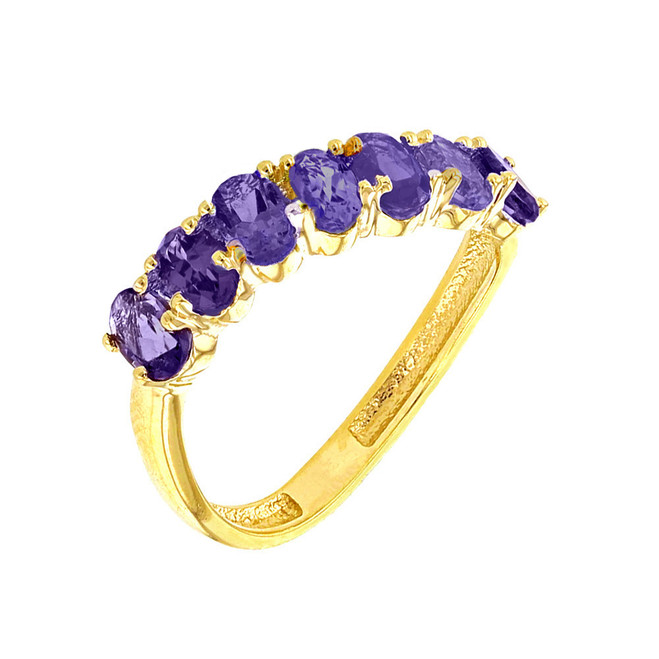 Yellow Gold Wavy Stackable Amethyst Ring