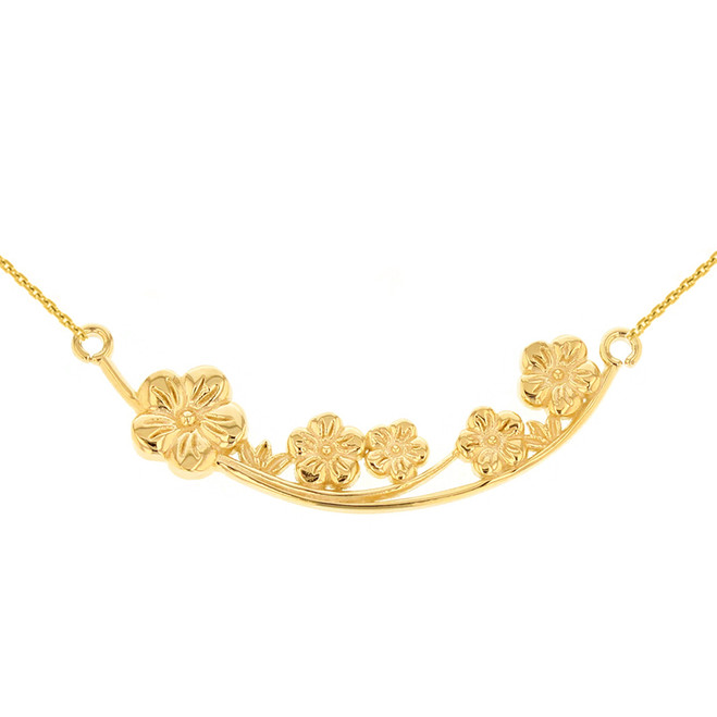 14K Solid Yellow Gold Flower Branch  Plum Blossoms Sideways Pendant Necklace
