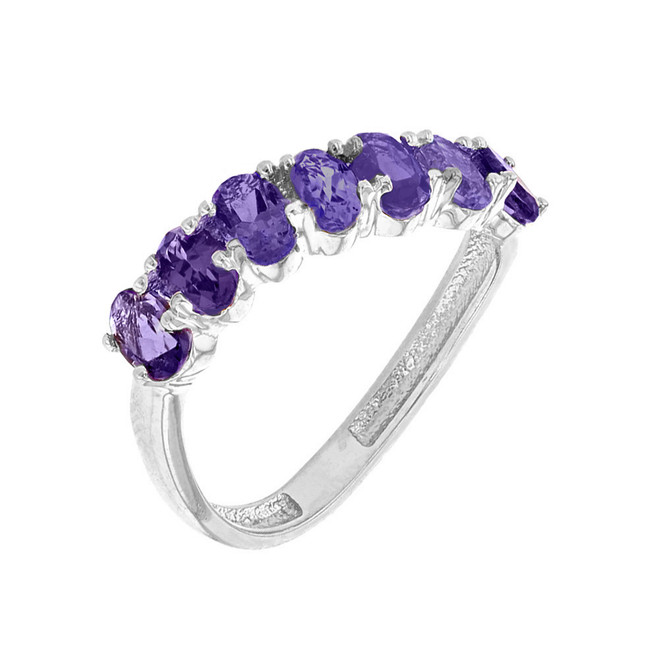 White Gold Wavy Stackable Amethyst Ring