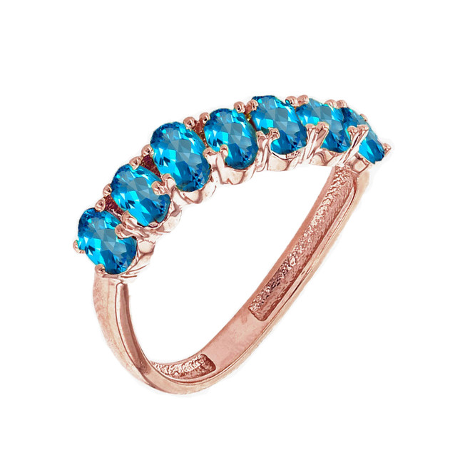 Rose Gold Wavy Stackable Blue Topaz Ring
