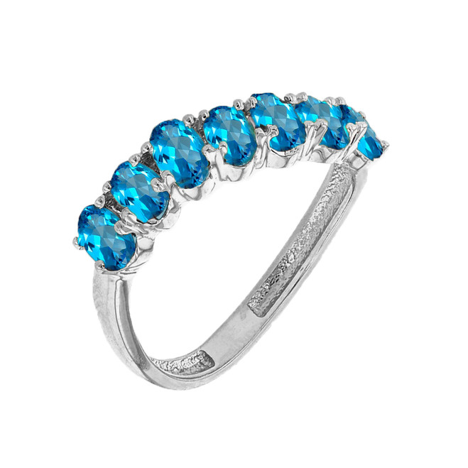 White Gold Wavy Stackable Blue Topaz Ring