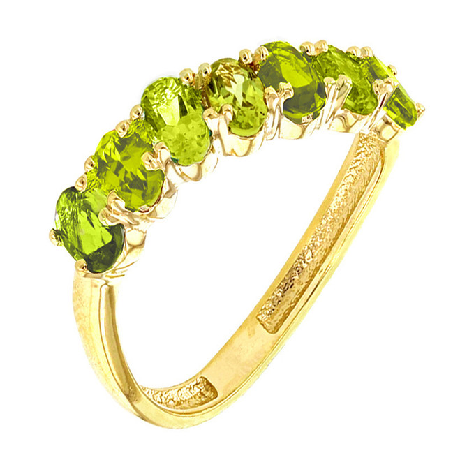 Yellow Gold Wavy Stackable Peridot Ring