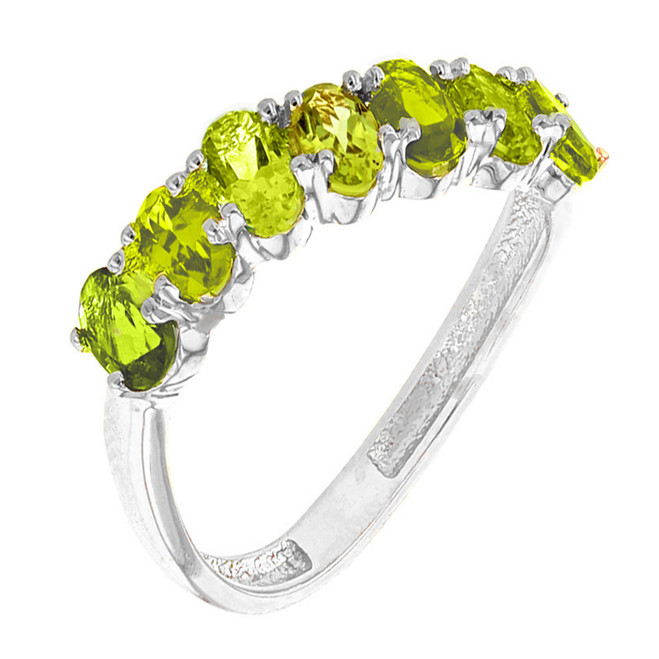 White Gold Wavy Stackable Peridot Ring