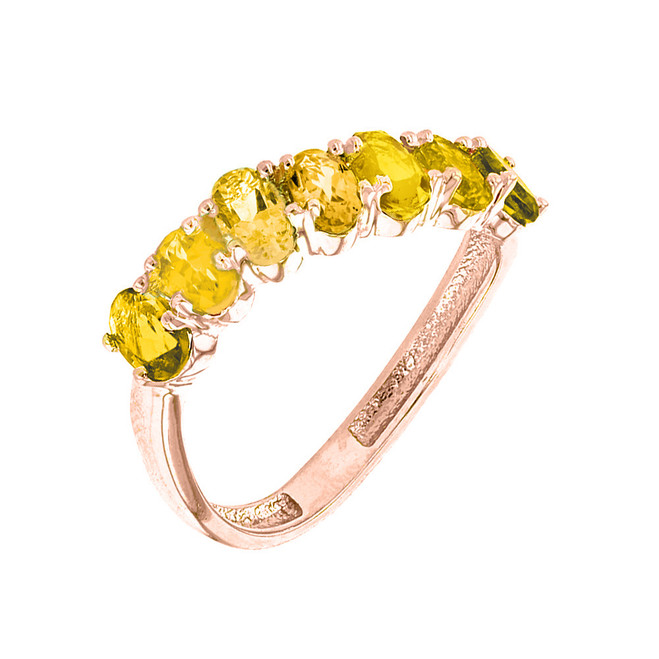 Rose Gold Wavy Stackable Citrine Ring