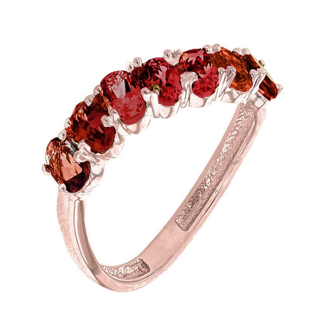 Rose Gold Wavy Stackable Garnet Ring