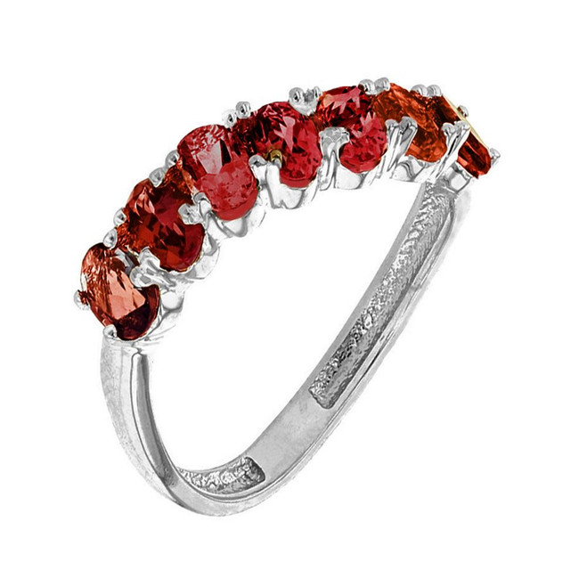 White Gold Wavy Stackable Garnet Ring