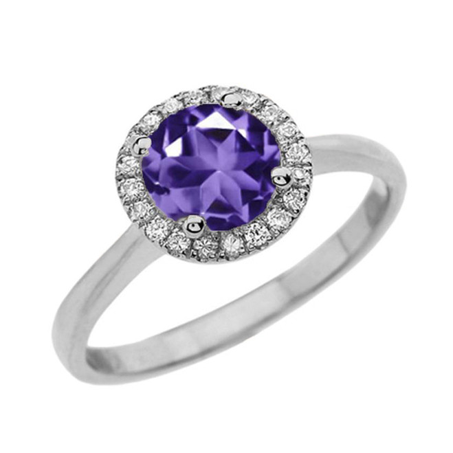 White Gold Diamond Round Halo Engagement/Proposal Ring With Amethyst Center Stone