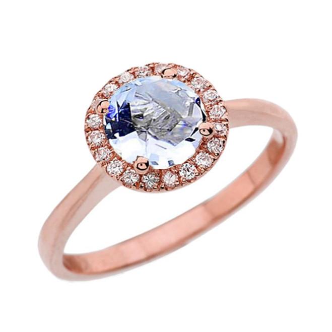 Rose Gold Diamond Round Halo Engagement/Proposal Ring With Aquamarine Center Stone